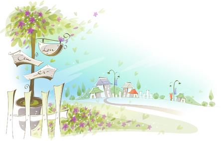 ハンギング ボードと鉢植えの植物のクローズ アップ  イラスト・ベクター素材