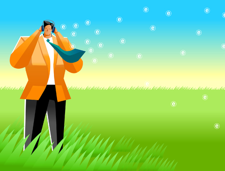 Businessman standing in a field and listening to music Illustration