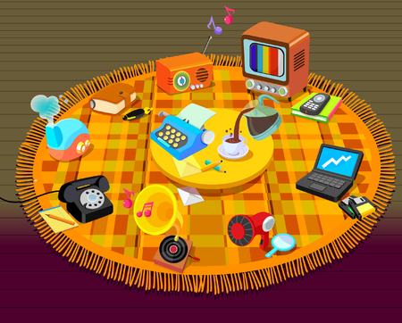 High angle view of a group of objects on a mat Illustration