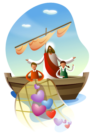 Jesus Christ standing a boy and a girl in a boat