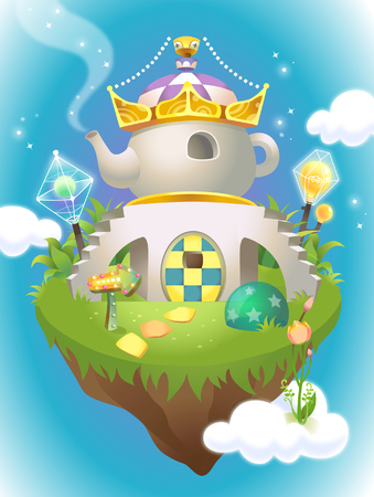 Crown on a teapot shaped house