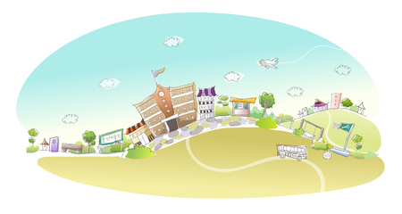 mode of transport: Buildings in a city Illustration