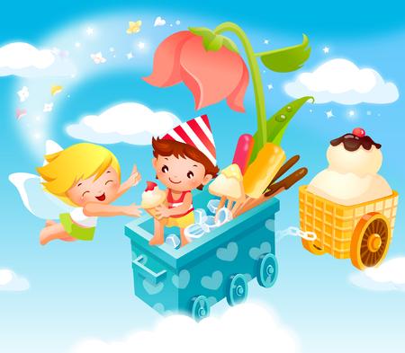 carretto gelati: Boy giving ice-cream to an angel
