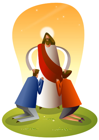 Jesus Christ blessing a man and a woman Illustration