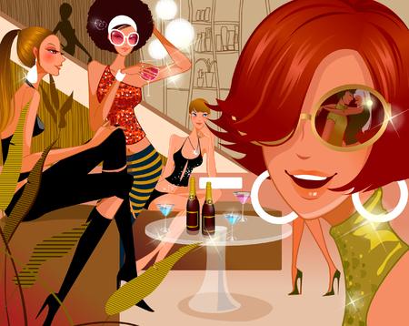 Five women in a nightclub