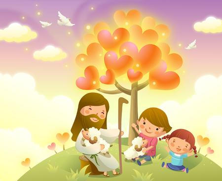 イエス ・ キリストの 2 人の子供と座っています。