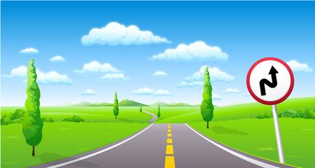 ダブルのクローズ アップを曲げる、道端の看板