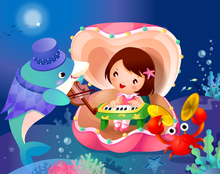 recreational: Girl playing a piano in a shell with a dolphin fish and a crab