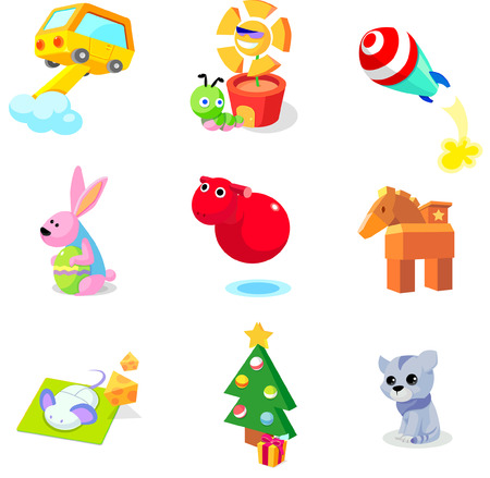Modes of transport with animals and christmas tree on a white background
