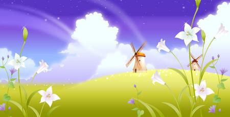 風景の伝統的な風車