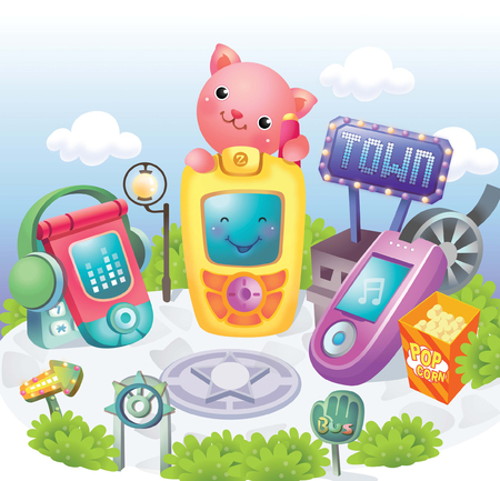 western town: Town of mobile phones Illustration