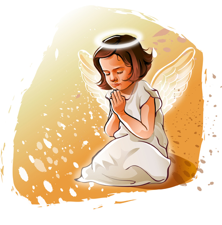 Close-up of an angel praying