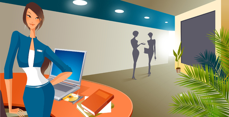 Businesswoman standing near the reception of an office Illustration