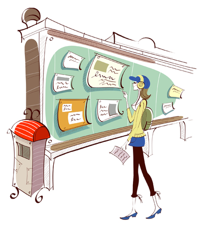 Woman standing in front of a bulletin board Illustration