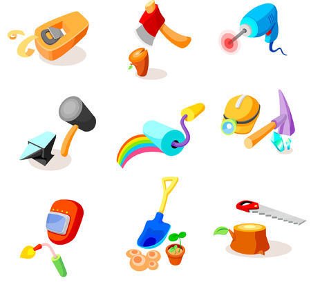 Various hand tools on a white background Illustration