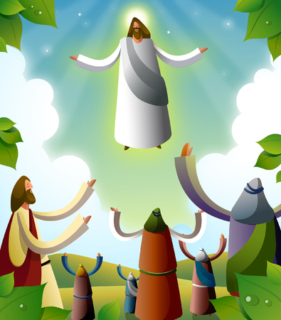 outstretched: Jesus Christ blessing a group of people Illustration
