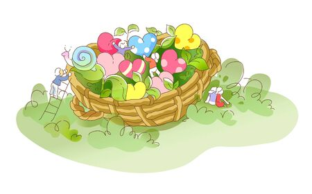 Basket with heart shaped flowers