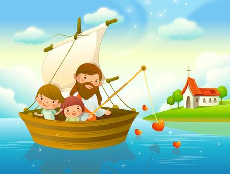 イエス キリストと二人の子供が川での釣り 写真素材 - 78587895