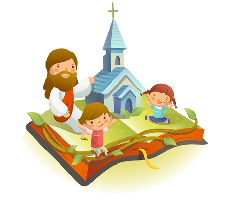 outstretched: Jesus Christ sitting on a book with two children Illustration
