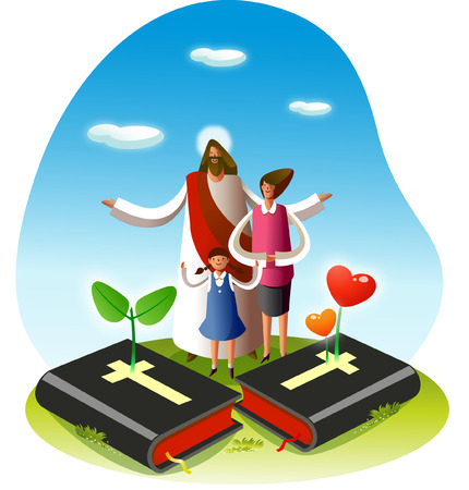 jesus standing: Jesus Christ standing with a girl and a woman Illustration