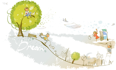Man running with his pets on the road Illustration