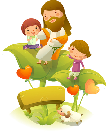 Jesus Christ sitting on a plant with two children