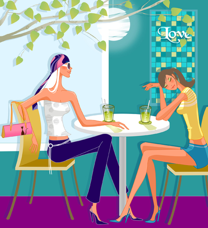 side table: Two women sitting in a restaurant Illustration
