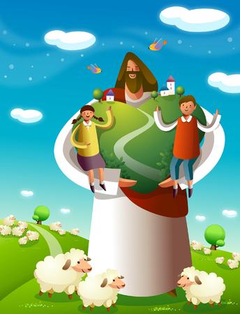 Jesus Christus steht mit einem Jungen und einem Mädchen auf einem Baum Standard-Bild - 79427062