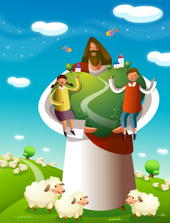 Jesus Christ standing with a boy and a girl on a tree