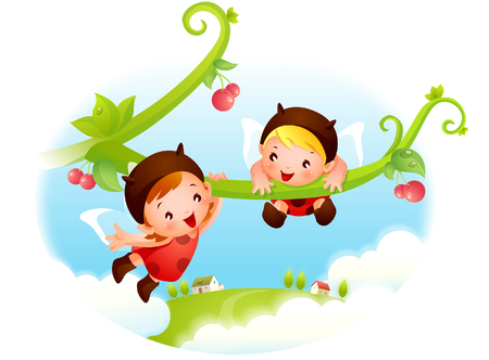 Two angels hanging from a branch Illustration