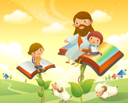 イエス キリストの本の上に 2 人の子供と座って