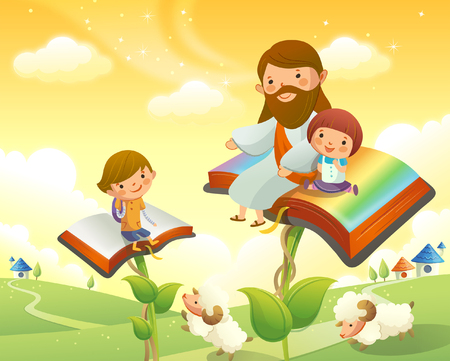 Jesus Christ sitting with two children on books Illustration
