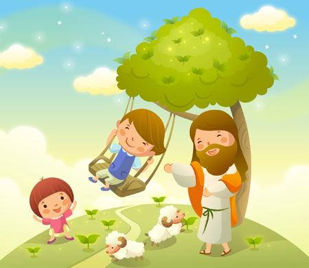 Jezus Christus speelt met twee kinderen Stock Illustratie