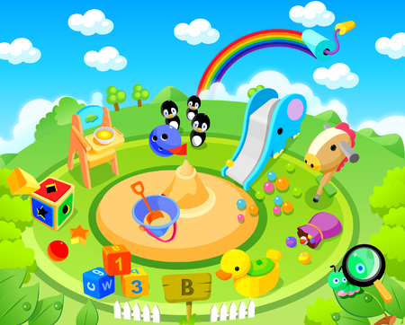 High angle view of toys in a park