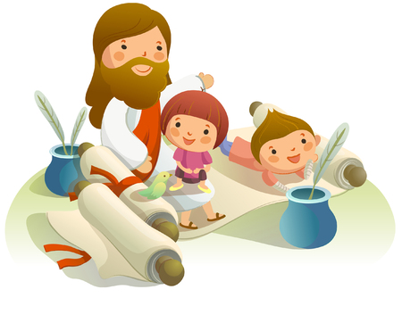Jesus Christ with two children on a scroll