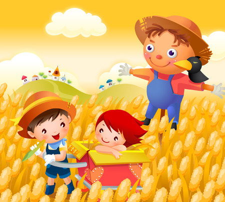 Boy and a girl in a field with a scarecrow behind them