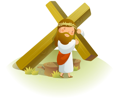 Jesus Christ carrying a crucifix on his shoulders