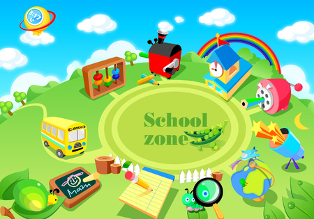 rainbow sky: High angle view of educational objects in a field