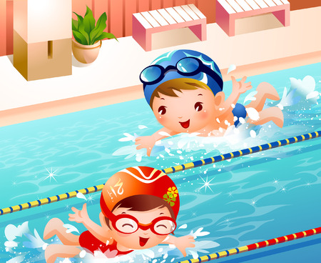 High angle view of a boy and a girl swimming in a swimming pool Illustration