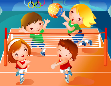 Two boys with two girls playing volleyball