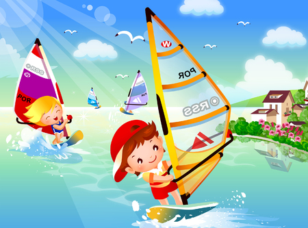 Two boys windsurfing in the sea Illustration
