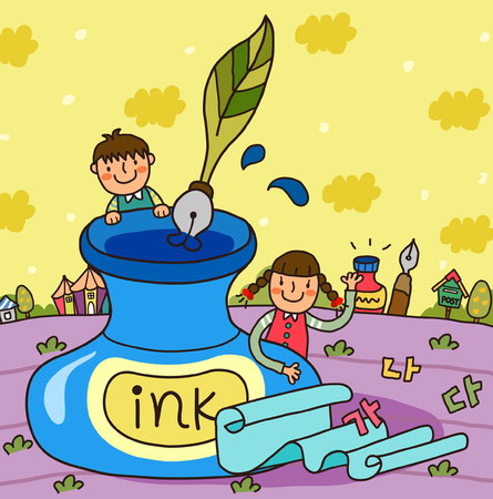 ink well: Boy and a girl standing behind the ink well