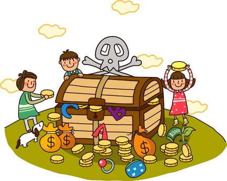 one girl only: Three children standing near a treasure chest