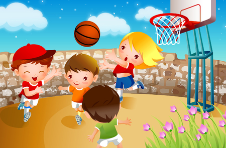 Four boys playing basketball