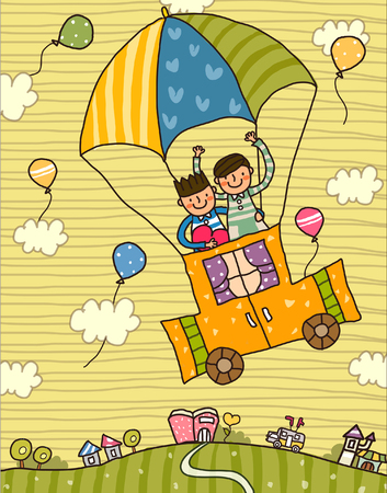 Boy and a girl in a hot air balloon