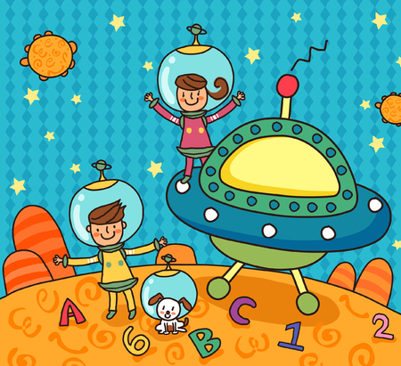 Two girls near a satellite dish