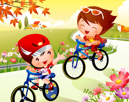 Boy and a girl riding bicycles Illustration