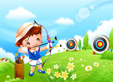 Boy aiming an arrow at a target