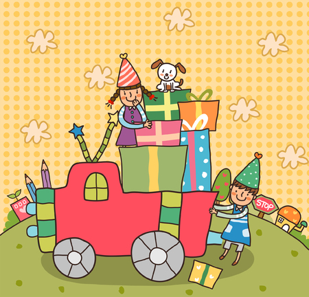 mode of transport: Two girls on a truck with gifts