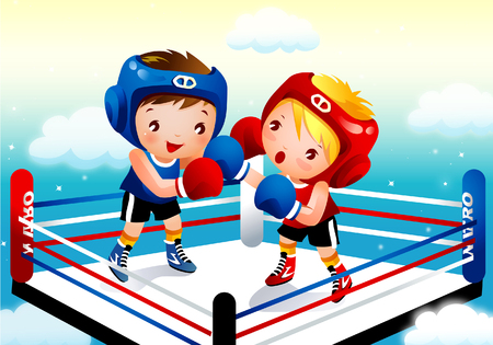 Two boys boxing in a ring